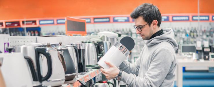 man buying kettle